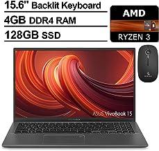 2020 ASUS VivoBook 15 15.6 Inch FHD 1080P Business Laptop, AMD Ryzen 3 3200U up to 3.5GHz, 4GB RAM, 128GB SSD, Backlit KB, FP Reader, Windows 10 Home S + NexiGo Wireless Mouse Bundle