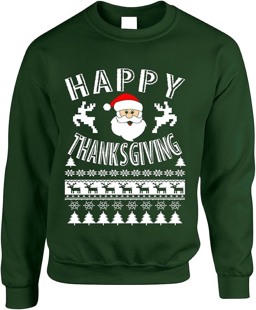Allntrends Adult Sweatshirt Happy Thanksgiving Ugly Santa Top Holiday Gift