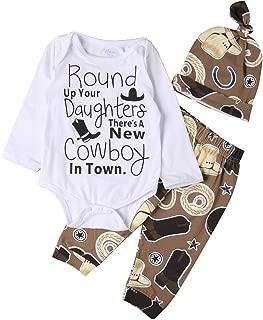 Newborn Baby Boys Clothes Cowboy Long Sleeve Letter Romper+Long Pants+Hat 3Pcs Outfit Set