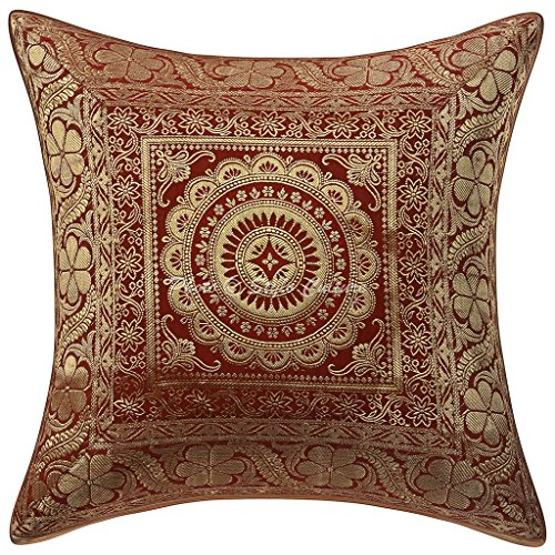 Stylo Culture Indisch Baumwolle Ethnische Kissen Kissen Fall Brokat Selbst Design 40 x 40 Zierkissenbezüge Red Floral Kissenbezug