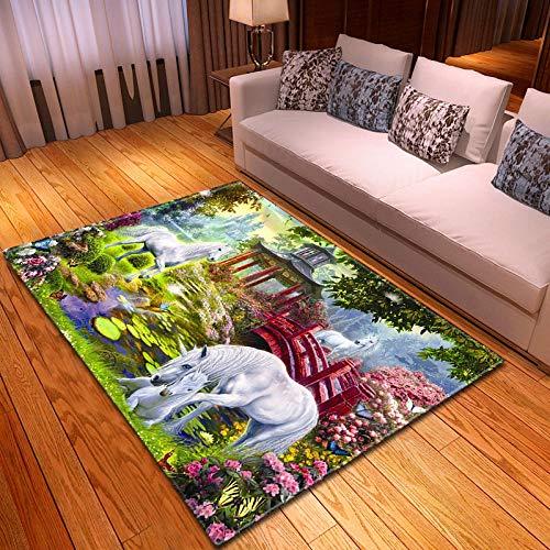 CGZLNL Alfombra de Suelo Caballo Blanco Animal Naturaleza Home Alfombra Impreso Fácil de Limpiar Salón Comedor Dormitorio Alfombra de Suelo Tamaño: 120 x 170 cm