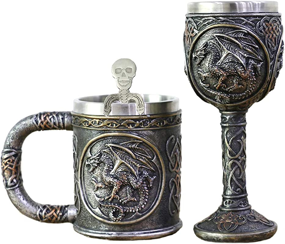 Dragon Skull Mug Goblet Spoon Set Of 3 With Stainless Steel Steampunk Beer Stein Tankard Decor Gift Or Coffee Mug Wine Chalice Christmas Anniversaries Mother S Father S Days