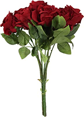 Fourwalls Polyester Fabric and Plastic Artificial Rose Flower Bunches (12 cm x 12 cm x 42 cm, Red, Set of 2)