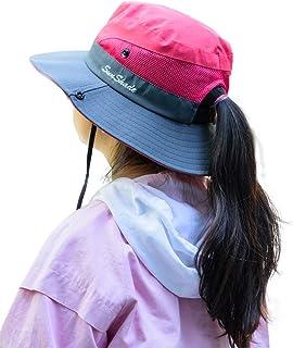 قبعة سبورتس ويل للأطفال بنات من الأشعة فوق البنفسجية قابلة للطي على شكل ذيل حصان قبعة شاطئ دلو بحافة واسعة