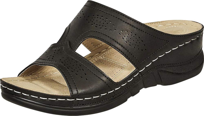 Cambridge Select Woherrar Open Toe Toe Toe Perforöd Side Cutout Comfort low Wedge Slide Sandal  försäljning online spara 70%