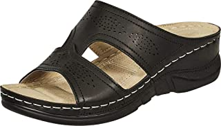 Cambridge Select Women's Open Toe Perforated Side Cutout Comfort Low Wedge Slide Sandal