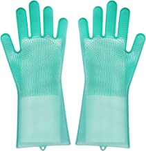 Washing Gloves Transparent Silicone Magic Gloves with Wash Scrubber Reusable Non-Slip Heat Resistant Gloves for Pots Pans, Dish Washing, Washing The Car, Pet Hair Care (Green)