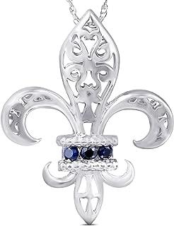 Blue Sapphire Vintage Fleur De Lis Pendant 10KT White Gold W/ 18