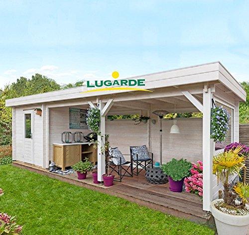 Lugarde Blockhaus Lübeck aus Fichtenholz NEU Blockbau mit Flachdach und angrenzender Gartenlaube