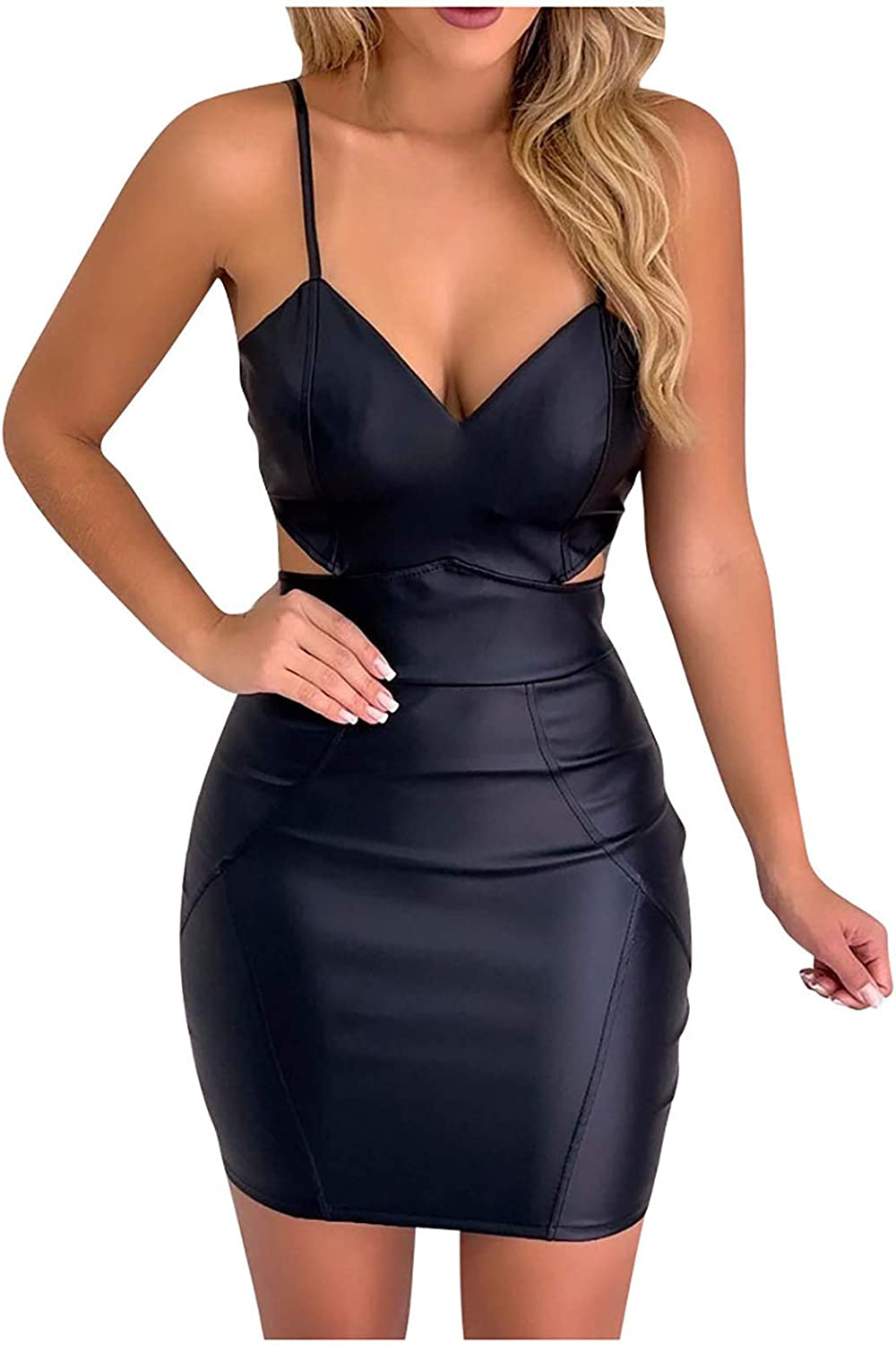 Women's Spaghetti Strap Mini Dress Faux Leather Solid Color V-Neck Hollow Out Party Club Bodycon Dress