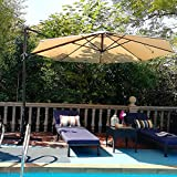 PHI VILLA 11Ft Patio Umbrella Cantilever Offset Hanging Outdoor Umbrellas with Crank Lift, Cross Base, 8 Ribs