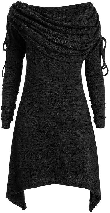 Talla Extra Sudadera Sin Capucha Mujer Largo Blusas Camiseta de Manga Larga Cuello Redondo Suelto Túnica Casual Basic Pull-Over Tops Color Sólido ...