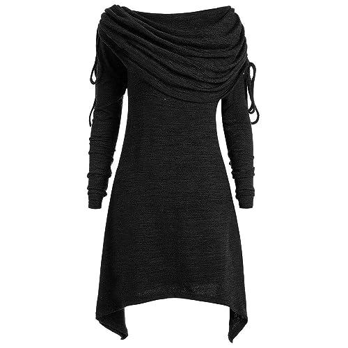 ❤️Femmes Asymétrique à Capuche à Manches Longues Hem Wrap Sweat à Capuche Hauts de vêtements Tefamore Tefamore-Robe