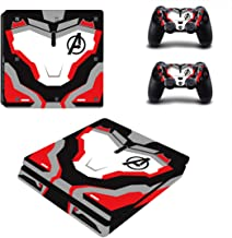 Decal Moments PS4 Slim Console Skin Set Vinyl Decal Sticker for Playstation 4 Slim Console Dualshock 2 Controllers-Avengers (PS4 Slim Only)