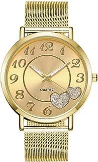 Xiangjin Wrist Watches,Mesh Stainless Steel Quartz Watch Love Heart Dial Wristwatches Casual Women's Watches