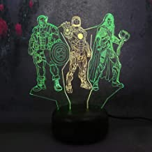 Creative 3D LED Night Light Dual Multi-Color Marvel Thor Iron Man Captain America Remote Control USB Base Battery Powered Home Decorative Kid Boy Gift Toy