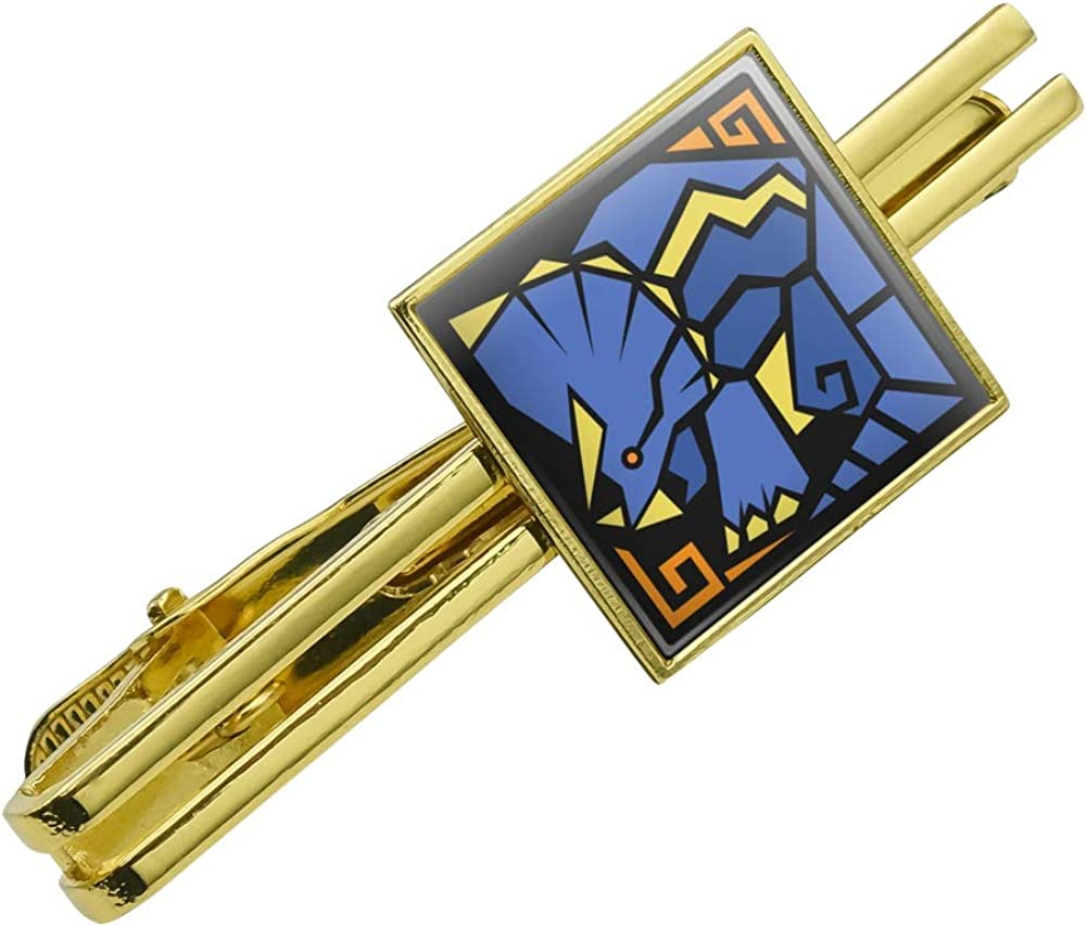 GRAPHICS & MORE Geometric Triceratops Dinosaur Aztec Mayan Style Square Tie Bar Clip Clasp Tack Gold Color
