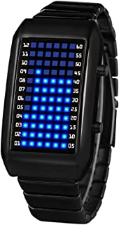 Men's and Women's Led Electronic Watch,30m Waterproof Calendar Month Metal Watch Personalize Couple Watch Student Men's-C