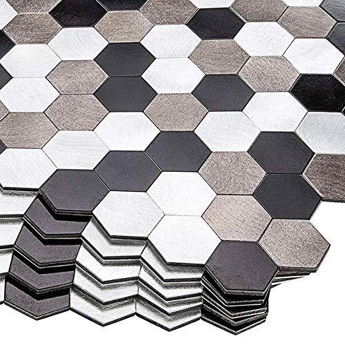 FEDZH Tegels Zelfklevende Aluminium Kunststof Samengestelde Muursticker Metaal, Licht gewicht eenvoudige installatie Badkamer Keuken Tegel Stickers 30 * 30cm 5 stks