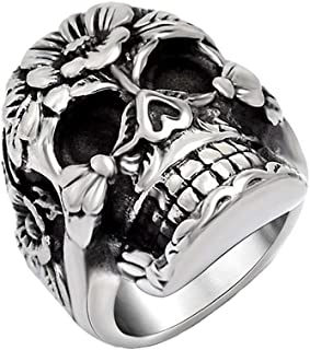 Gungneer Stainless Steel Gothic Punk Floral Skull Ring Strength Jewelry Accessories Men Women