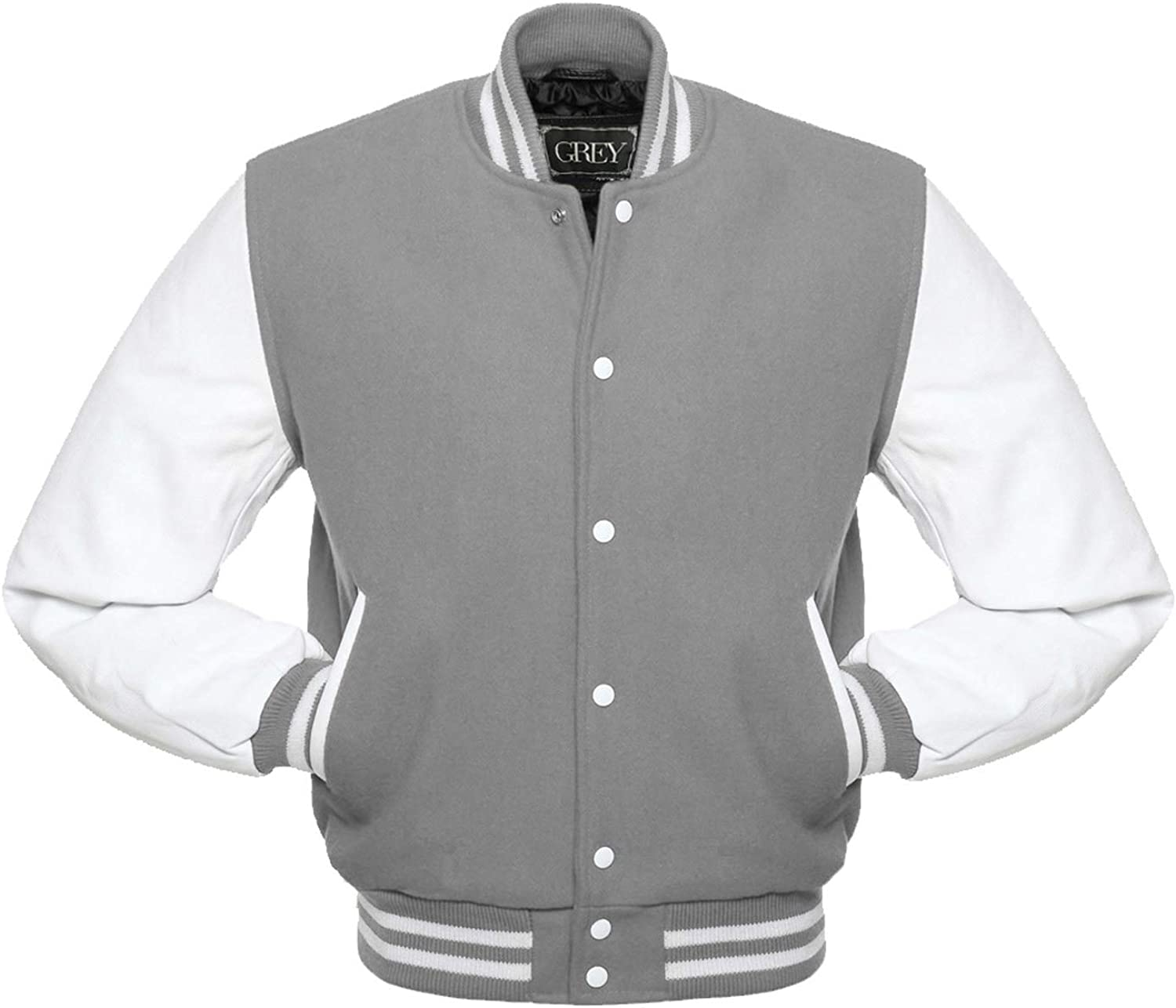 GREY Brand Varsity Jacket, Wool Body with Leather Arms Letterman Baseball Unique & Stylish (3XL)