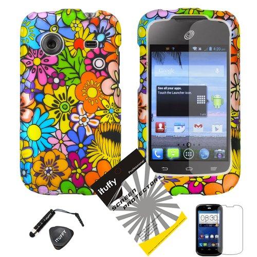 3 items Combo: ITUFFY (TM) Mini Stylus Pen + Case Opener + Design Rubberized Snap on Hard Shell Cover Faceplate Skin Phone Case for ZTE Whirl Z660G /Straight Talk (Color Daisy Flower)