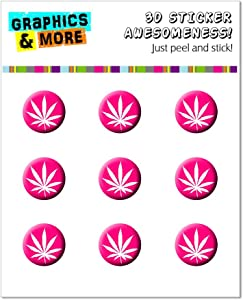 Graphics and More Marijuana Leaf - Fuchsia Pink - Home Button Stickers Fit Apple iPhone (3G, 3GS, 4, 4S, 5, 5C, 5S), iPad (1, 2, 3, 4, Mini), iPod Touch (1, 2, 3, 4, 5)