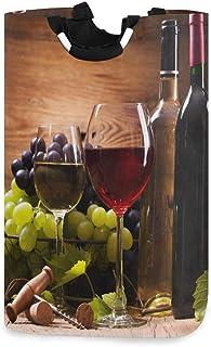 N\A Verres de Bouteille de vin Blanc Rouge Panier à Linge en Bois de Raisin avec poignées Panier de Rangement Pliable étan...