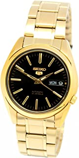5 #SNKL50 Men's Gold Tone Stainless Steel Black Dial Automatic Watch