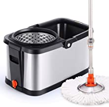 JUAN Spin Mop and Bucket - Hand-Free Wringing Floor Cleaning Mop,Household Rotary Mop Bucket Stainless Steel Free Hand Was...