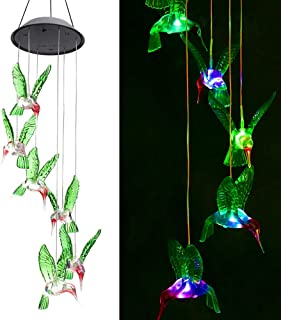 ZOUTOG Solar String Lights, Color Changing LED Mobile Hummingbird Wind Chimes, Waterproof Outdoor Solar Lights for Home/Ya...