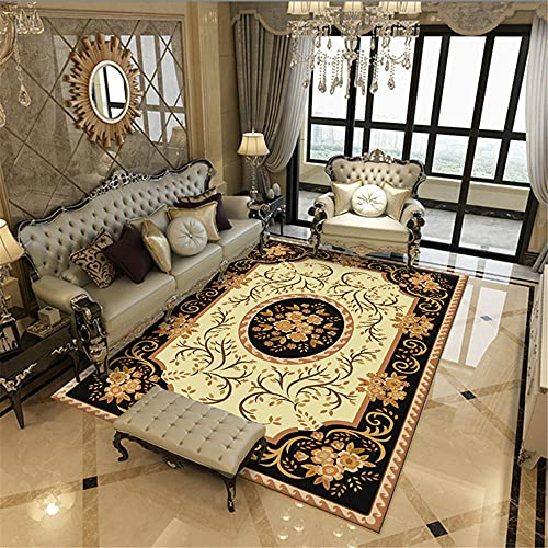 Kunsen alfombras Pasillo Modernas alfombras y moquetas Sala de Estar Alfombra Rectangular Amarillo Negro Resistente a Las Manchas y Lavable Suelo Exterior terraza 80X160CM 2ft 7.5' X5ft 3'