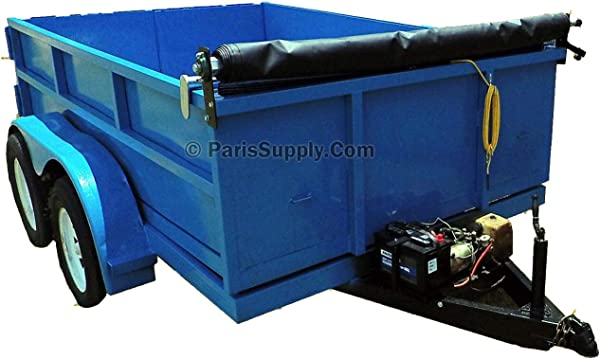 Hand Crank Tarp Roller Kit With Retention Bow For Dump Truck Or Trailer With MESH TARP 6 W X 15 L