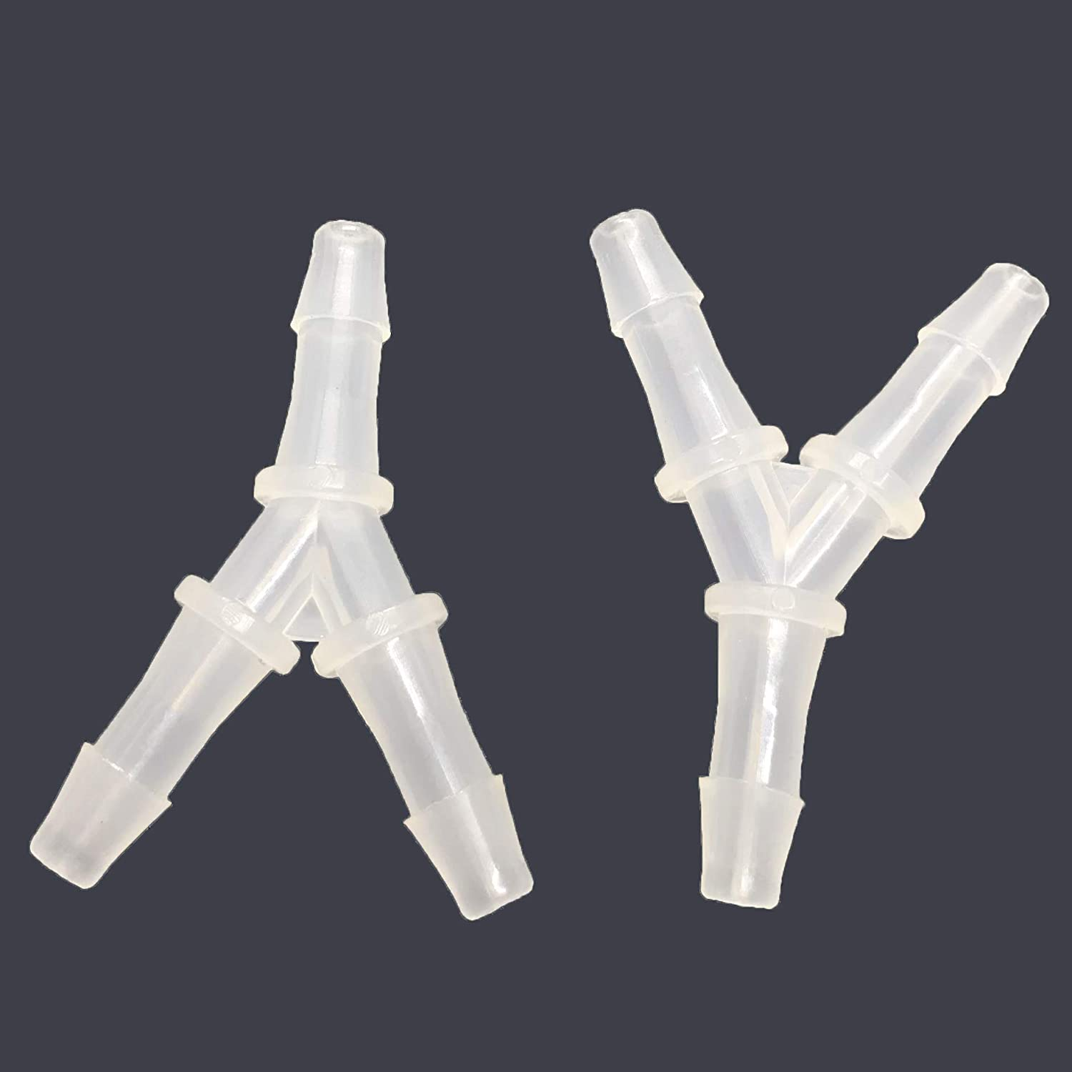 PP Barb Y Tee 5//16 Hose ID Fitting Polypropylene Plastic Pipe Connectors Boat Water Air Aquarium O2 Fuel Pack of 2