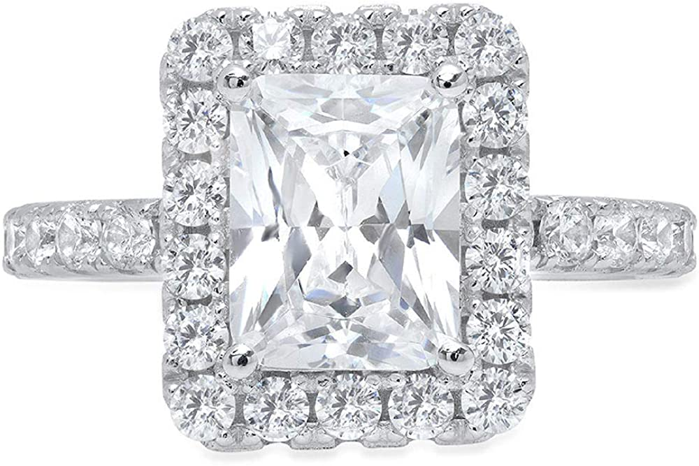 Clara Pucci 3.7ct Brilliant Emerald Round Cut Solitaire Halo Statement Wedding Anniversary Engagement Promise Ring 14k Solid White Gold