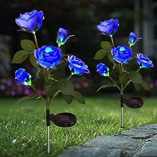 Rose Flowers Solar Light Outdoor,Landscape Lights Decorative Solar Garden Stake Lights with 10 Blue Rose Flowers Waterproo...