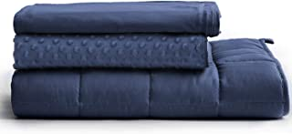 YnM Weighted Blanket 3 Pieces Set with 2 Duvet Covers | Suit for Hot & Cold Sleepers Year Round Use (48''x 78'' 15lbs)