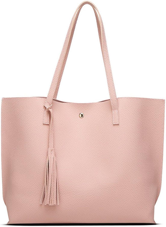 Women Artificial Leather Shoulder Bag TopHandle Handbag Tote Bag With Tassel