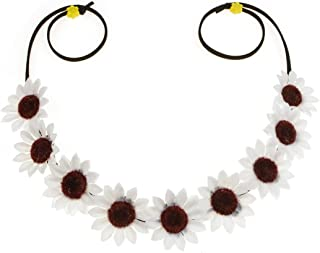 DreamLily Women Girls Woodland White Daisy Flower Crown Boho SunFlower Hair Garland NC05