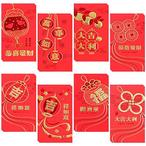 Chinesische rote Umschläge, 32 Stück, chinesisches Neujahrsfest, Hong Bao, Glücksgeld-Umschläge für Frühling Festival Hochzeit Geburtstag (8 Stile)