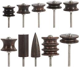 Ebony Leather Burnisher, Wooden Leather Craft Kit Leather Slicker Tool Drill Sets Polished Slicker Set Grinding Tip (10 Stlye)