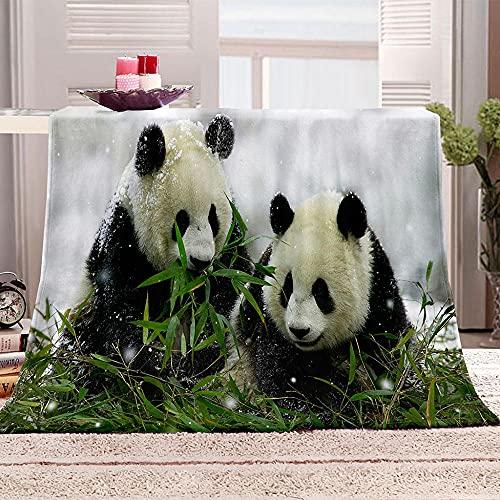 LHUTY Manta de Lana Franela Panda 100x130 cm 3D impresión Microfibra súper Suave Manta de Lana, para niños Adultos Navidad y cumpleaños Regalo Manta