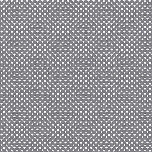 babrause® Baumwollstoff Mini Sterne Grau Webware Meterware Popeline OEKOTEX 150cm breit - Ab 0,5 Meter
