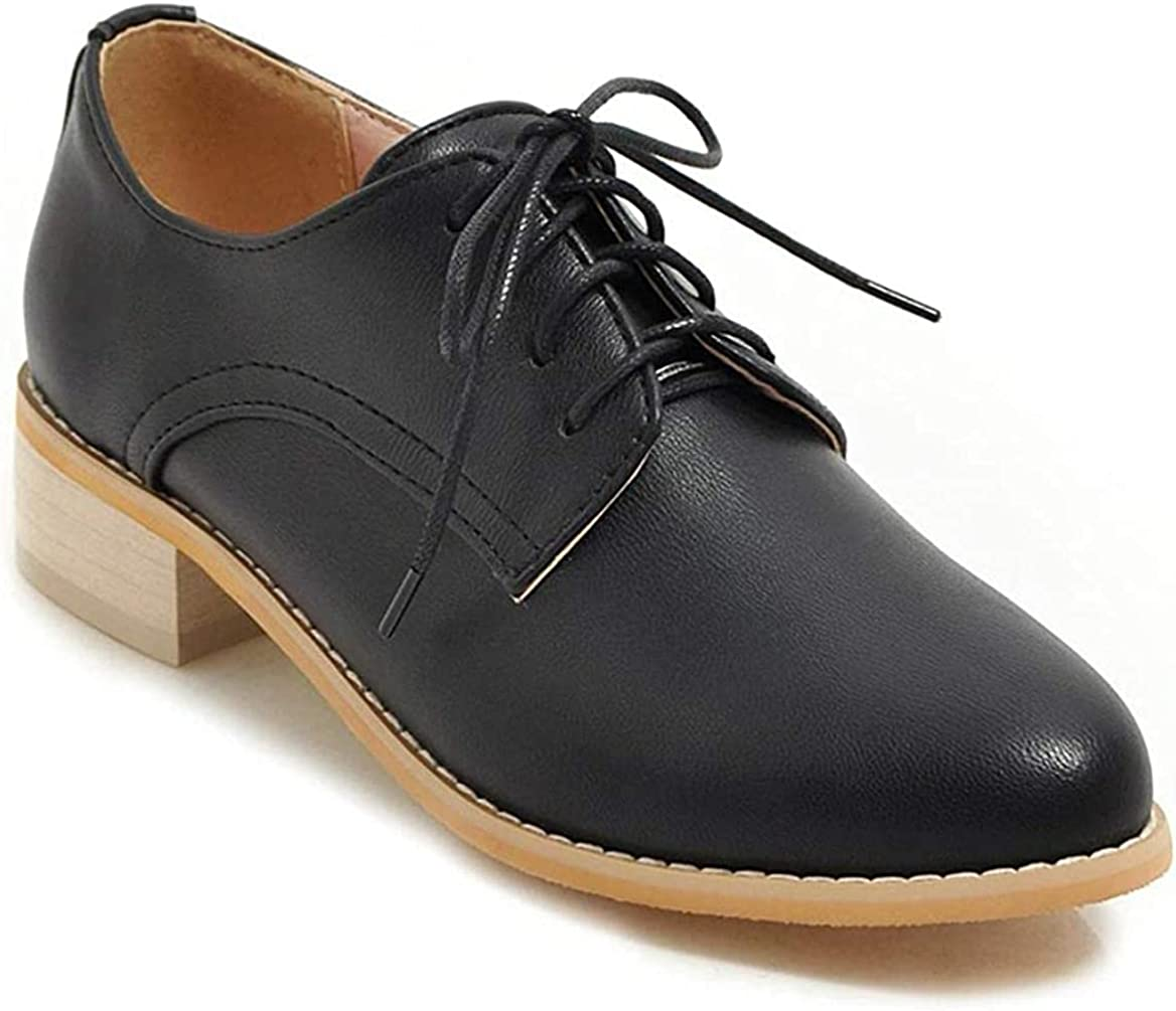 Women's Vintage Lace Up Selling Flats Oxfords Low Leather Faux Shoes Hee Easy-to-use