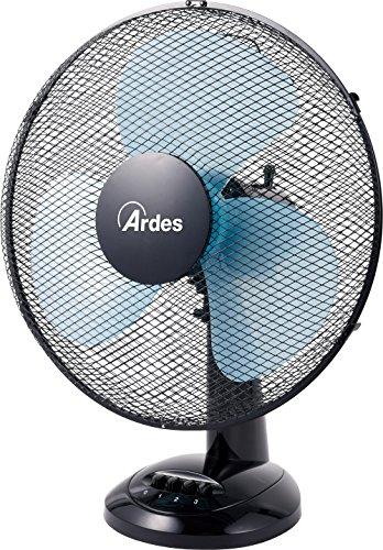 Ardes AR5EA40 Easy 40 Ventilatore da Tavolo Pala 40 cm 3 Livelli di velocità, Total Black, Nero