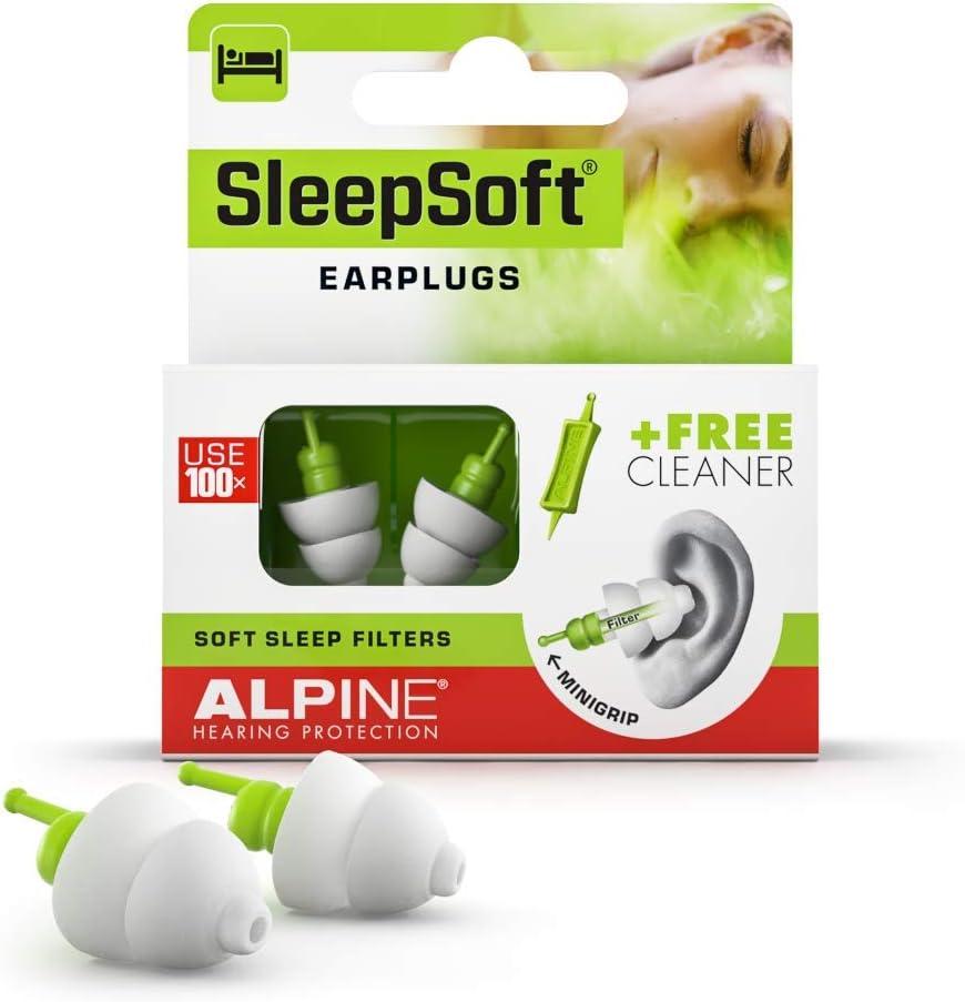 Alpine SleepSoft Tapones - Bloquea los ronquidos y mejora el sueño - Filtros suaves diseñados para dormir - Material hipoalergénico cómodo - Tapones reutilizables
