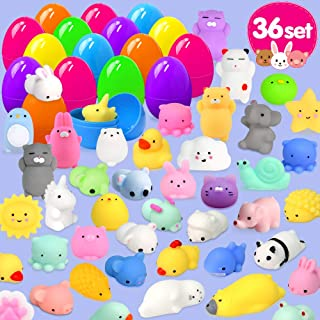 Calans 36pcs Easter Eggs + 36pcs Mochi Squishy Toys Easter Basket Stuffers Easter Egg Fillers for Kids Mini Squishies Party Favor Animal Squishys Easter Toys Surprise Egg Hunt Gift, Random