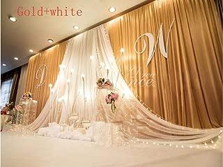 Eyestar 20x10ft Luxury Wedding Stage Silk Backdrop Background Curtains with Beauty Yarn Gauze Decoration (Gold+White)