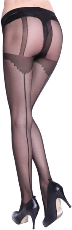 JJ-GOGO Black Faux Suspender Tights