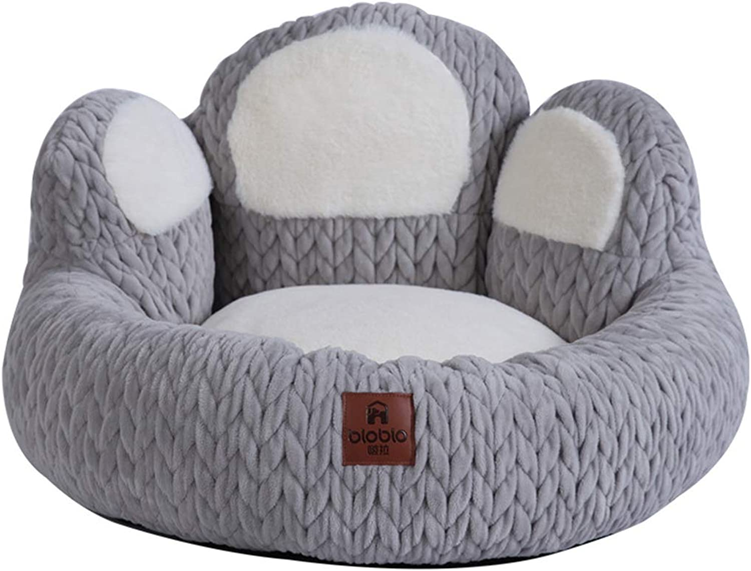 Pet Dog Bed Soft Sofa Bed Bolster Dog Bed for Small Medium Cats and Dogs (Grey, Cactus Style)